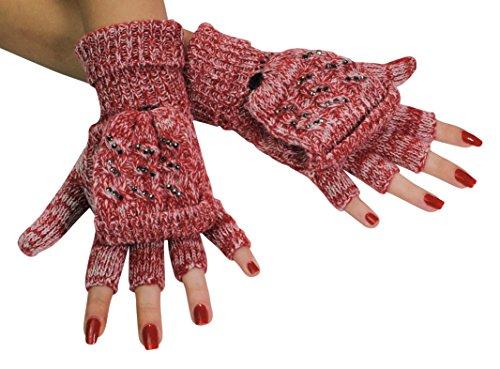 Immerschön Handschuh mit Klappe rot meliert Glitzer - 2 in 1 - fingerlose Handschuhe Fäustlinge klappbar