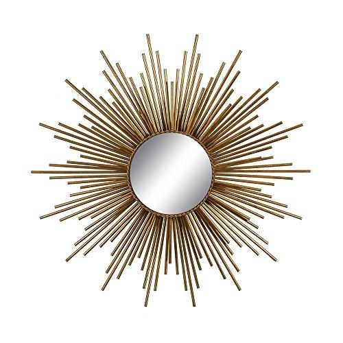 Espejo sol de metal dorado moderno para salón de 80 cm Sol Naciente - Lola Home