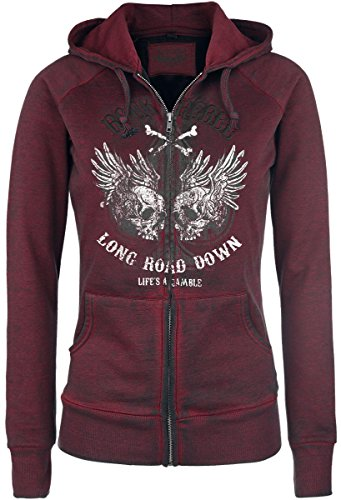 Rock Rebel by EMP Hooded Burnout Sweatjacket Felpa jogging donna bordeaux XXL