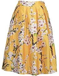 Moollyfox Mujeres Floral Impreso Pretina Elástico Plisada De La Falda De Midi Abocardada Ocasional Amarillo