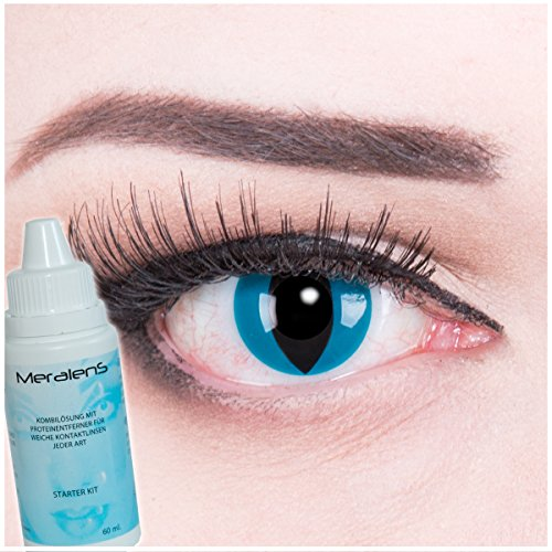 Meralens A0308 Mystic Cat Kontaktlinsen mit Pflegemittel mit Behälter ohne Stärke, 1er Pack (1 x 2 Stück)