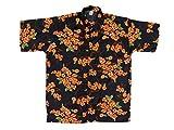 Hawaiihemd Hawai Freizeit Hemd Shirt Viskose schwarz Blumen orange klein, Größe:XXL