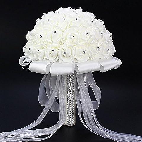 ETGtek(TM) 1pcs White Wedding Flower Bouquet Handmade Rose Rhinestone Pearl Bridal Bouquet Artificial Foam Flower With Satin