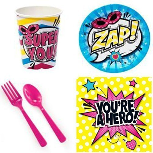 Girls Superhero Party Supplies for 16 Guests by Harper (Party Olivia Supplies)