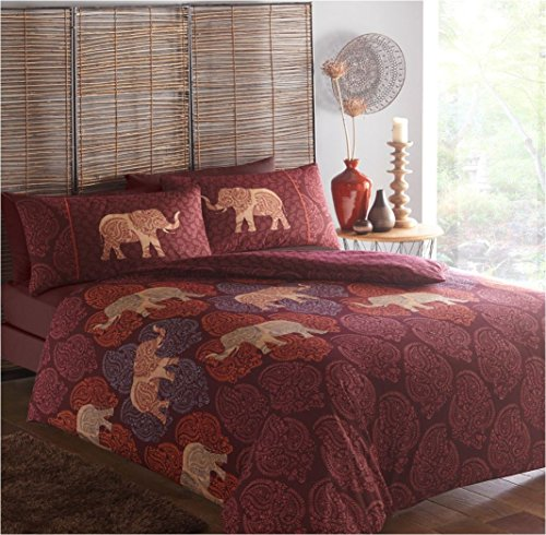 Ethnic Elephants King Duvet Quilt Cover & 2 Pillowcase Bedding Bed Set Plum