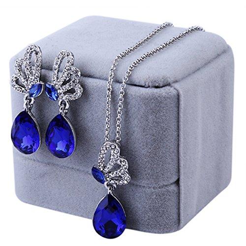 Cloud-Y Meilleur Cadeau Jolie Papillon-Parure Collier et Boucles d'Oreilles en Zirconium pour Femmes Plaque Argent Bijoux Fantaisie Bleu Fonce
