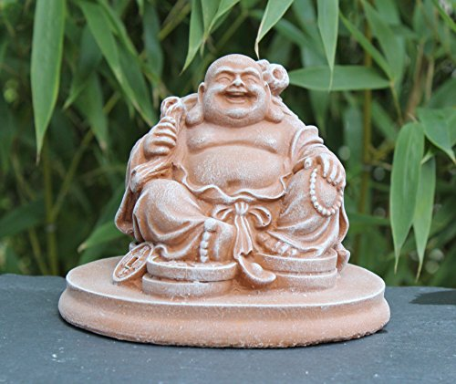 Von Hand Bemalt, Sind Mit Schreibtischen (Glücksbuddha Figur Terrakotta als Geschenk, lachende Buddha Statue als Deko für Haus und Garten, Kunsthandwerk aus Deutschland)