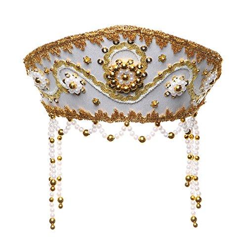 (danila-souvenirs Russisch Traditionelles Volkskostüm - Kopfschmuck Kokoshnik Alina weiß #128)