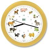 KOOKOO KidsWorld Crema-Amarilla, Reloj de Pared Genuino, Sonidos de Animales Naturales, 12 Animales de la Ganja, Ilustraciones Monika Neubacher-Fesser, Sensor de luz