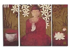 Painting Mantra Buddha Canvas Painting (61.9 cm x 51.7 cm x 8.5 cm, Set of 3)