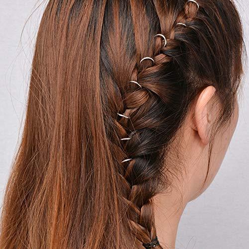 50 Stück Individuelle Freizeit-Haarspange, modische Perlenringe, Zopfringe, Haarreifen (Silber)