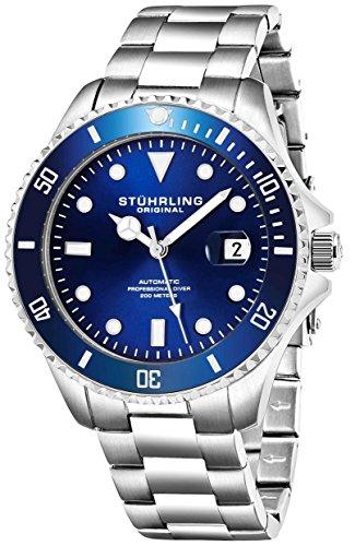 Stuhrling Original Edizione Deep Blue Orologio Automatico da Uomo 200m Orologio sportivo resistente all'acqua, con corona a vite, braccialetto in acciaio inox, lunetta girevole unidirezionale