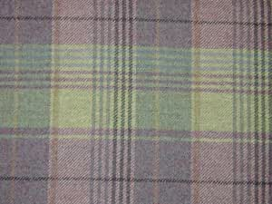 Curtain Fabric 100% Wool Tartan Plaid Check Heather Natural Mint Designer Upholstery By The Metre
