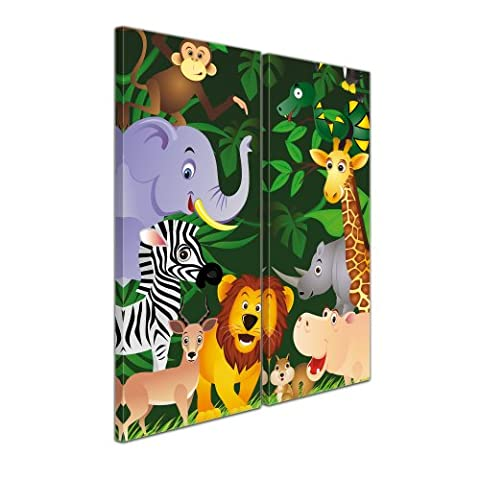 """SENSATIONSPREIS Bilderdepot24 Leinwandbild mit SOMMER RABATT """"Kinderbild - Lustige Tiere im Dschungel - Cartoon"""" - 60x70 cm 2 teilig - eigene Herstellung, faire Produktion in Deutschland"""