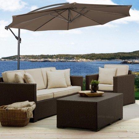 Terrasse zum aufhängen Regenschirm 10ft. Sonne Schatten versetzt Outdoor Satteltasche mit Markt mit Base Tan von onlinegymshop. COM - Tan Satteltasche