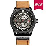Curren Montre homme Quartz, montre waterproof à quartz analogique, multifonctionnel montre-bracelet (brown-black)
