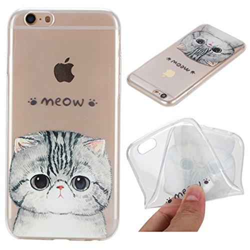 iPhone 6 Hülle, iPhone 6S Hülle, Gift_Source [ Mandala ] Hülle Case Transparent Weiche Silikon Schutzhülle Handyhülle Schutzhülle Durchsichtig TPU Crystal Clear Case Backcover Bumper Case für iPhone 6 E1-Meow Cat