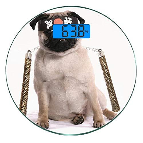Einfach Kostüm Mops - Digitale Präzisionswaage für das Körpergewicht Runde Mops Ultra dünne ausgeglichenes Glas-Badezimmerwaage-genaue Gewichts-Maße,Ninja Welpe mit Nunchuk Karate Hund Eastern Warrior inspiriert Kostüm Mop