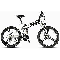Cyrusher XF700 Weiß schwarz Herren Falten Elektrisches Fahrrad 17 X 26 Zoll Mountain Bike Full Suspension 250 Watt 36V 21 Geschwindigkeiten mit Power Off Anti-Rutsch Mechanische Scheibenbremse und Smart Bike Computer