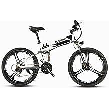 cyrusher xf700blanco negro mans eléctrica plegable bicicleta 17x 26inch bicicleta de montaña suspensión total 250W 36V 21velocidades con freno de disco mecánico y antideslizante de apagado inteligente ordenador de bicicleta