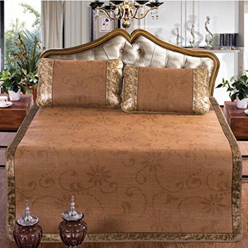 Rattan Mat Letto matrimoniale Sleeping pieghevole Lenzuolo singolo di lusso Dormitorio di bambù in tre pezzi con la pillowcase (letto 150 / 180cm) ( dimensioni : 180*200cm )
