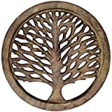 Purpledip Wooden Trivet 'Tree Of Life' Coaster Hot Pad Mat For Dining Table, Kitchen (10935)