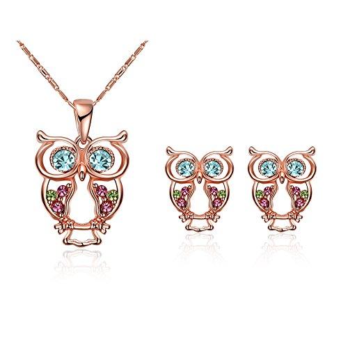 Yizhet Búhos Conjunto Joyas Mujer juego de joyas de Mujer Pendientes y collar de Oro rosa Original Regalo para Mujer Navidad San valentin Cumpleaños