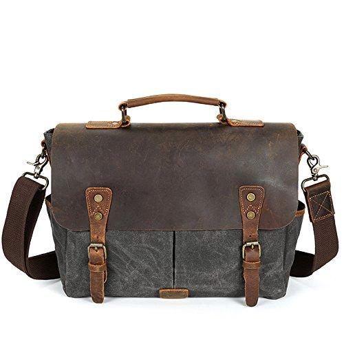 Preisvergleich Produktbild QARYYQ Herren Umhängetasche Canvas Tasche Retro Herren Tasche Tragbare Aktentasche Diagonal Tasche Männlich, Multi-Color Optional, 38 * 26 * 7cm Aktentasche für Unternehmen (Farbe : Gray)
