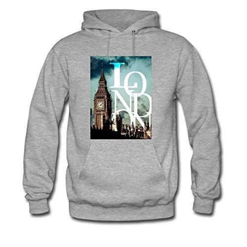 HGLee Printed Personalized Custom London Classic Women Hoodie Hooded Sweatshirt Gray--1