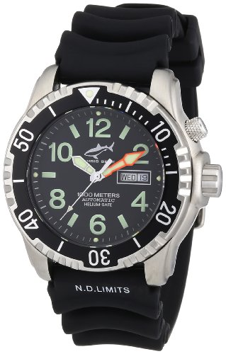 Chris Benz CB-1000A - Reloj analógico automático unisex con correa de caucho, color negro