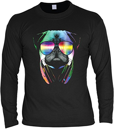 Langarm T-Shirt für Männer Langarmshirt Herren DJ Pug cooles Hunde Motiv Dog Hunde Hund langes T-Shirt Schwarz