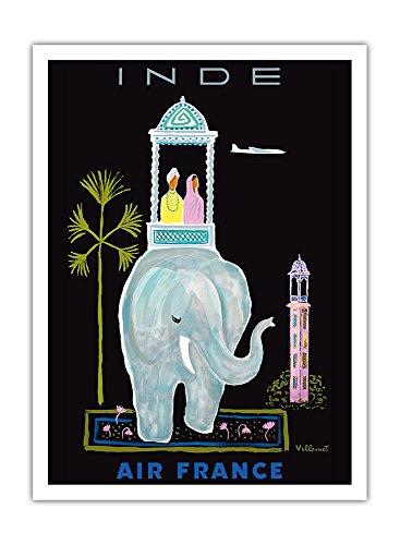Indien - Air France - Indischer Elefant mit Sänfte - Vintage Retro Fluggesellschaft Reise Plakat Poster von Bernard Villemot c.1956 - Premium 290gsm Giclée Kunstdruck - 30.5cm x 41cm