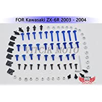 VITCIK Kit Completo de Tornillos y Pernos de Carenado para Kawasaki ZX6R ZX-6R Ninja 636 2003 2004 03 04 Clips de Sujeción en Aluminio CNC de La Motocicleta (Azul & Plata)