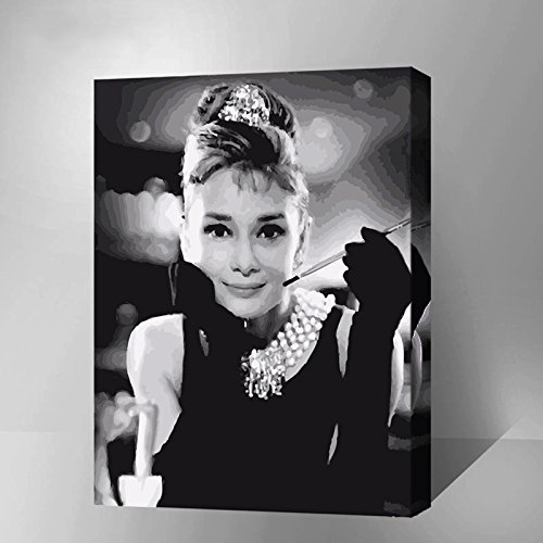 MADE4U Paint By Numbers Kits Canvas Mounted on Wood Frame with Brushes and Paints for Adults Children Seniors Junior DIY Beginner Level Acrylics Painting Kits on Canvas (Audrey Hepburn 8651) by MADE4U