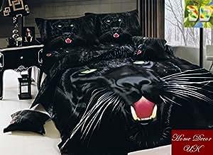 Effet 3D Noir Puma Impression photo Lot de 6Housse de couette parure de lit 100% coton