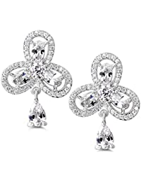 MASOP Moon&Star Mismatched Asymetric Earrings Platinum Plated Clear Cubic Zirconia Stud & Dangle Drop Earrings ohARB