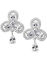 MASOP Moon&Star Mismatched Asymetric Earrings Platinum Plated Clear Cubic Zirconia Stud & Dangle Drop Earrings