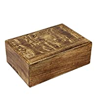 Icrafts India Wooden Storage Box for Kids Fox Designed Multi-Utility Keepsake Large Box Children Room Decor - 10 x 7 Inches - aheli