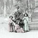 Sagen Vintage Design Weihnachten Vintage Servietten Kinder Engel Tanne 20 Stück 3-lagig 33x33cm