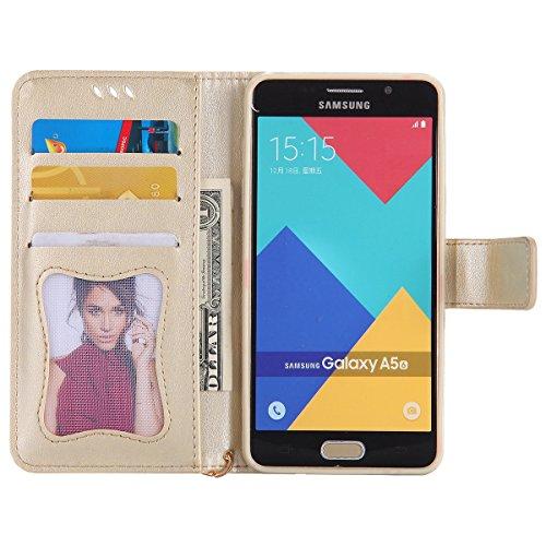 Custodia Galaxy A5 2016 - Cover per Samsung Galaxy A5 2016 - ISAKEN Fashion Agganciabile Luminosa Custodia con LED Lampeggiante PU Pelle Portafoglio Tinta Unita Cover Caso per Samsung A5 2016, Luxury  Oro