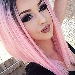 1234 womens wigs,Beauty hair fashion heat resistant synthetic female short/medium length silky pink root wig