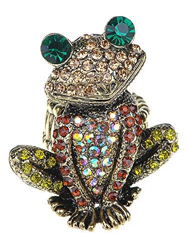 Alilang Einstellbare Antique Gold Farbton Bunte Strass Frosch Kröte Ring
