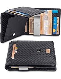 TRAVANDO ® Geldbeutel mit Geldklammer - 10 Kartenfächer - TÜV geprüft - Slim Design - RFID Schutz - Großes Münzfach - Das Original - inklusive Geschenk Box - Designed in Germany