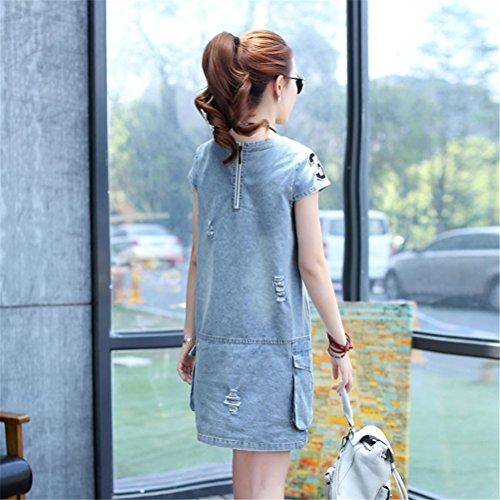 Femmes élégant col ras du cou manches courtes lâche Casual lavé denim robe Bleu
