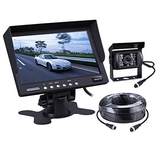DDAUTO DDV1207B Truck Bus Backup camera and Monitor kit with 7 inch digital LCD Monitor Waterproof night vision Rear View Camera and 66ft cable for Bus Truck Van Trailer RV Campers(12V 24V)