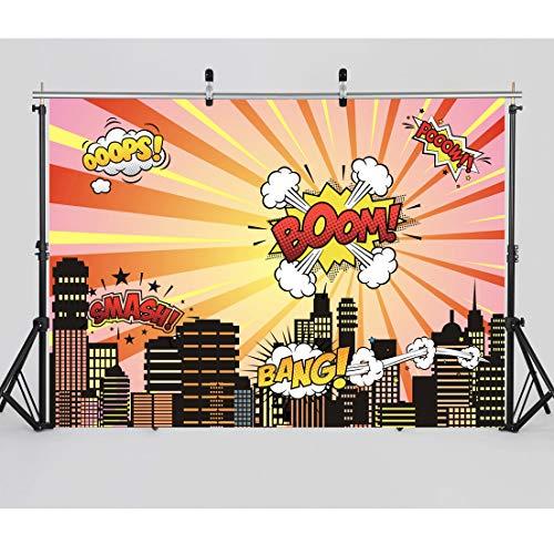 AIIKES 8x6FT/2,4x1,8M Fotografie Hintergrund Stadt Nacht Superheld Baby Geburtstags Party Hintergrund für Kinderfoto Hintergrund 11-048