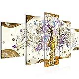 Bilder Gustav Klimt - Baum des Lebens Wandbild Vlies - Leinwand Bild XXL Format Wandbilder Wohnzimmer Wohnung Deko Kunstdrucke Gelb 5 Teilig -100% MADE IN GERMANY - Fertig zum Aufhängen 003052a
