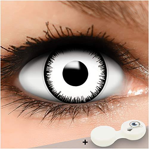 Farbige weiße Kontaktlinsen Vampir MIT STÄRKE + Behälter von Linsenfinder, weich, als 2er Pack - angenehm zu tragen und perfekt zu Halloween, Karneval, Fasching oder Fasnacht