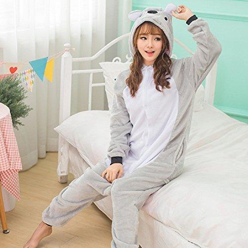 Unisex Einteiler-Pyjama, Erwachsene Flanell Schlafanzug, Tier-Schlafanzug Onesie Koala-Bär L - 2