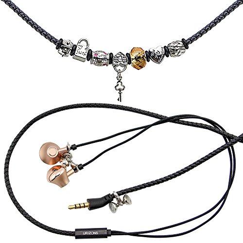 URIZONS In Ear Kopfhörer, In-Ohr Kopfhörer mit Mikrofon und Fernbedienung Pandora Perlen Wearable Wistband Halskette (Lock Black)
